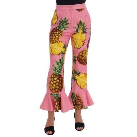Dolce & Gabbana Multicolor Pineapple Jacquard Flare Women's Pants - it40-s