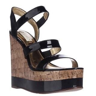 Lauren Ralph Lauren Teressa Cork Platform Wedge Sandals - Black