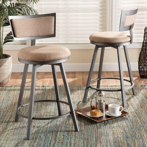 Danson Modern Industrial 2-Piece Swivel Pub Chair Set