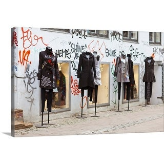 """""""Manequins outside, facade covered in graffiti."""" Canvas Wall Art"""