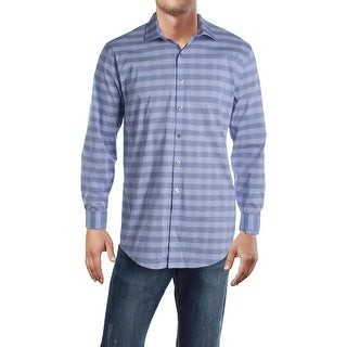 Link to Kenneth Cole Reaction Mens Flex  Dress Shirt Checkered Slim Fit - Helio Similar Items in Shirts