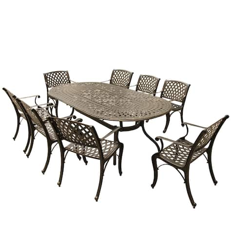 Outdoor Lattice 95-inch Bronze Oval Dining Set with Eight Arm Chairs