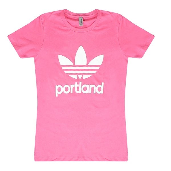 167a02ad3327 Shop Adidas Portland Originals Trefoil Women's Pink T-Shirt White Logo -  Free Shipping On Orders Over $45 - Overstock - 17065840