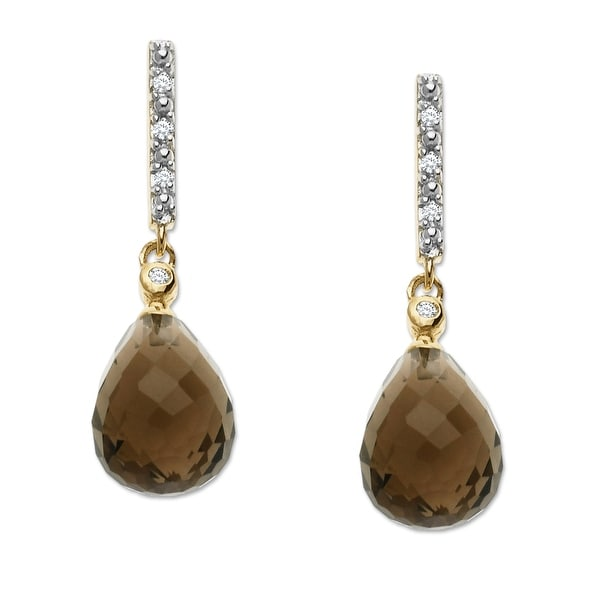 8 5/8 ct Natural Smoky Quartz Drop Earrings with Diamonds in 14K Gold - Brown
