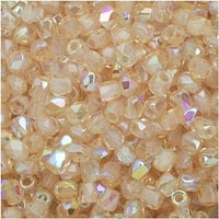 True2 Czech Fire Polished Glass, Faceted Round Beads 2mm, 50 Pieces, Crystal Yellow Rainbow
