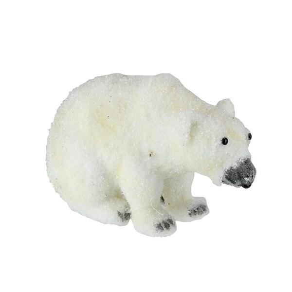 "9"" White Sitting Polar Bear Table Top Christmas Figure Decoration"
