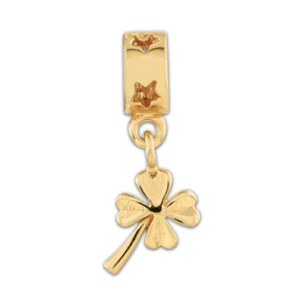 Sterling Silver Reflections Gold-plated 4-leaf Clover Dangle Bead (4mm Diameter Hole)