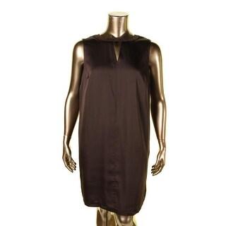 Lauren Ralph Lauren Womens Plus Vovidia Casual Dress Keyhole Neckline Suede Trim