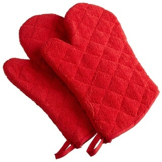 Set of 2 Bright Red Oven Mitts with Quilted Diamond Design 13