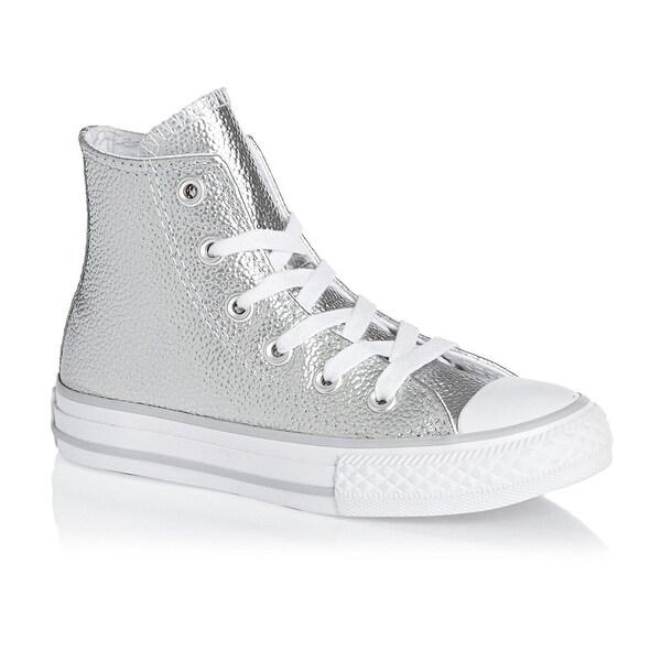 c489d749292 Converse Kids Chuck Taylor All Star Hi Top Fashion Sneaker Shoe - Pure  Silver White