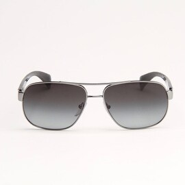 Ruthenium Aviator Sunglasses With Grey Gradient Polarized Lens