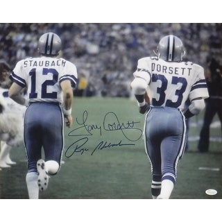 Roger Staubach  Tony Dorsett Dual Autographed Dallas Cowboys 16x20 Photo JSA