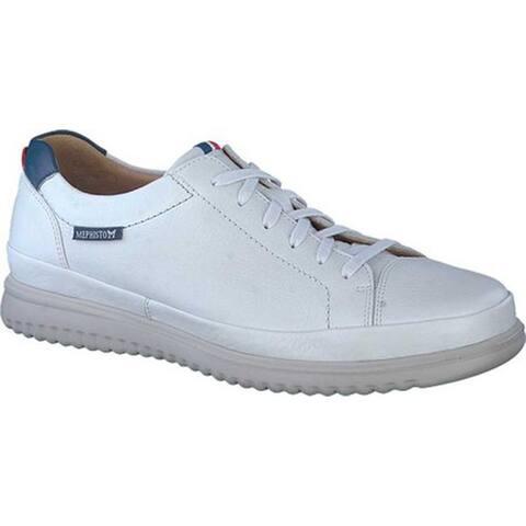Mephisto Men's Thomas Sneaker White/Denim Oregon Smooth Leather