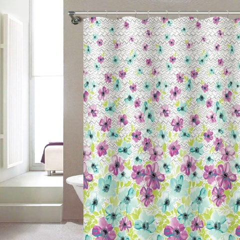 Victoria Floral Abstract Printed Canvas Shower Curtain, Purple-Green, 70x72 Inches