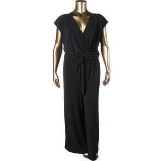 Lauren Ralph Lauren Womens Plus Jumpsuit Surplice Wide Leg