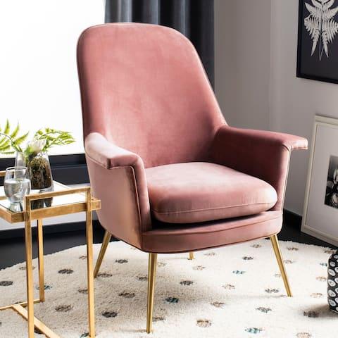 "Safavieh Couture Aimee Velvet Arm Chair- Dusty Rose / Gold - 33.5""x31.7""x40.9"""