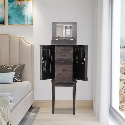 Standing Jewelry Armoire with Mirror, 5 Drawers & 8 Necklace Hooks