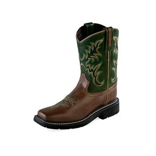Old West Cowboy Boots Boys Girls Square Rubber Chocolate Brown WB1001