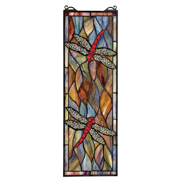 Gorgeous antique art nouveau american stained glass window.
