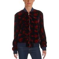 Lauren Ralph Lauren Womens Fucetta Bomber Jacket Velvet Long Sleeves