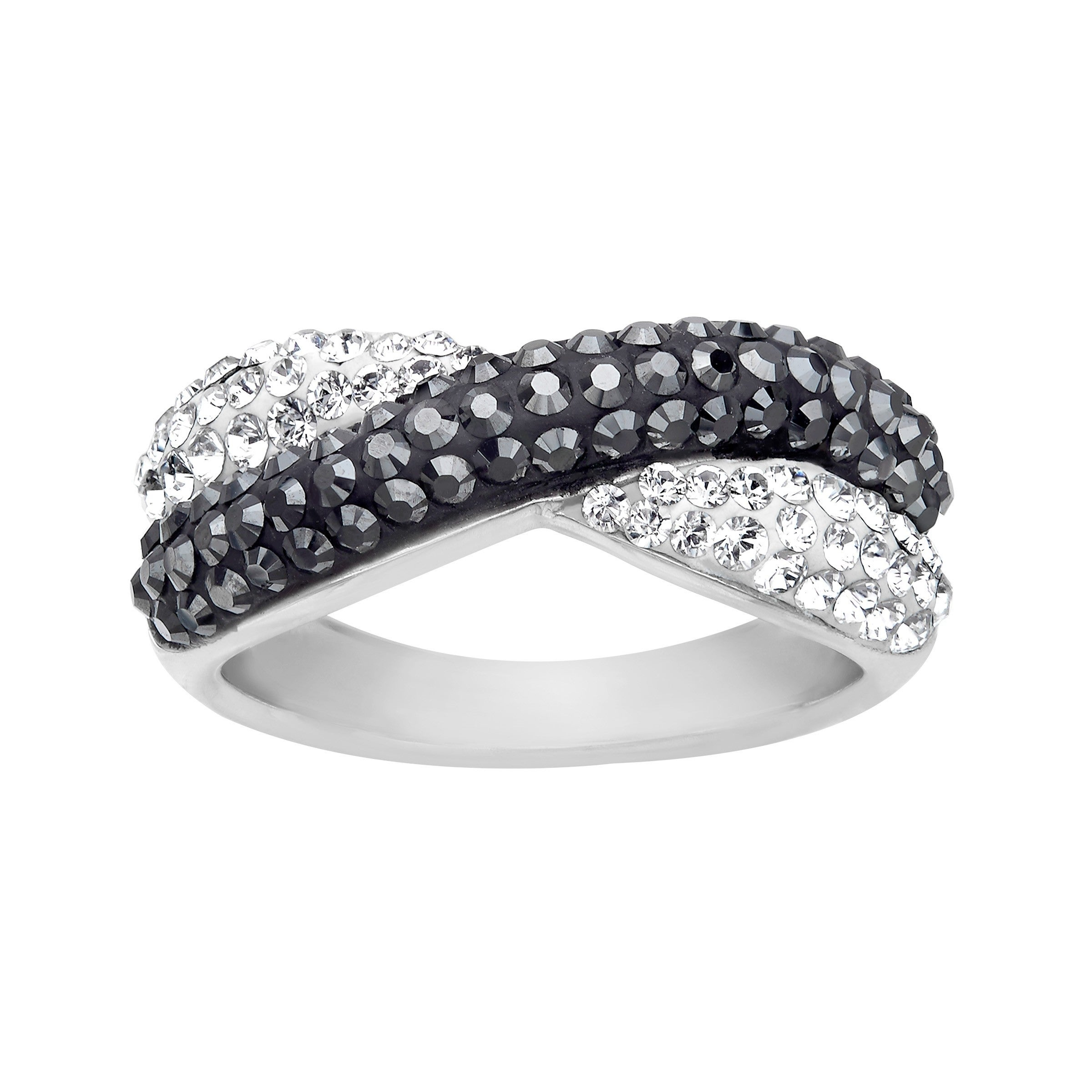 0cbfada00 Shop Crystaluxe Criss-Cross Band Ring with Swarovski Elements Crystals in Sterling  Silver - Black - Free Shipping On Orders Over $45 - Overstock - 13886361