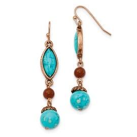 Copper Brown Acrylic Beads Dangle Earrings