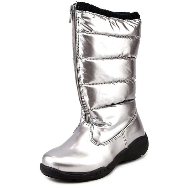 Tundra Puffy Youth  Round Toe Synthetic Silver Winter Boot