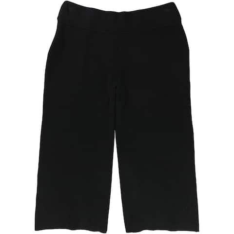 Alfani Womens Ribbed Gaucho Pants, black, Large