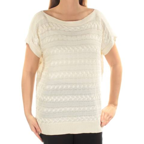 RALPH LAUREN Womens Ivory Cable Knit Short Sleeve Boat Neck Sweater Size: L