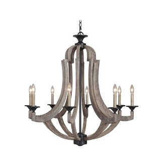 Jeremiah Lighting 35128 Winton Single Tier 8 Light Candle Style Chandelier - 36 Inches Wide - weathered pine