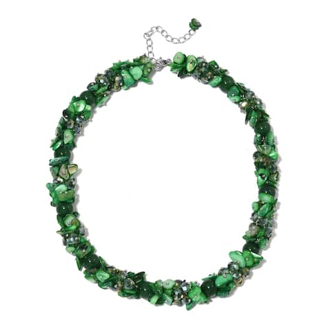 Green Shell Faceted Platinum Plated Bead Strand Necklace 23 Inches - Size 20-23''