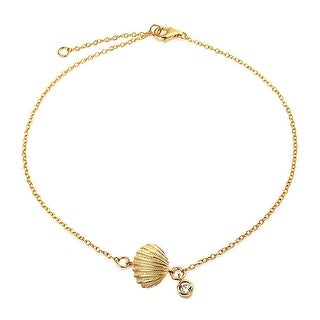 Bling Jewelry Gold Plated Silver Clam Shell Seashell CZ Charm Anklet 7in