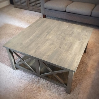 Hampton Unfinished Solid Parawood Square Coffee Table