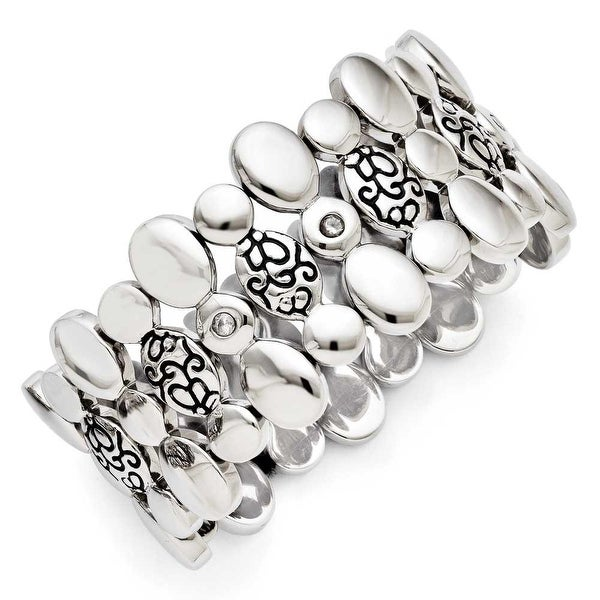 Chisel Stainless Steel CZ Antiqued Stretch Bracelet