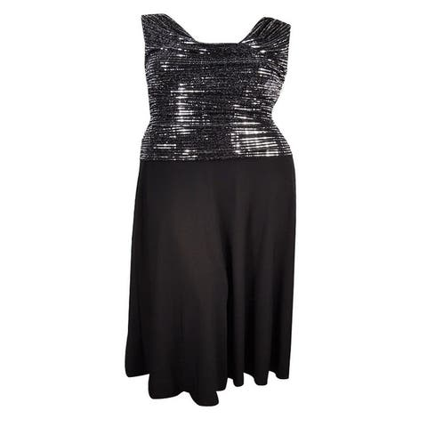 R&M Richards Women's Metallic Sequined A-Line Dress - Silver/Black