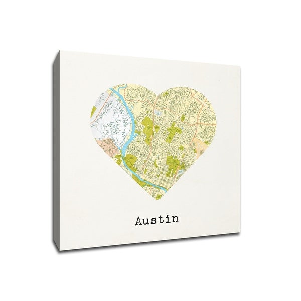 Austin - City Map to My Heart - 20x20 Gallery Wrapped Canvas Wall Art