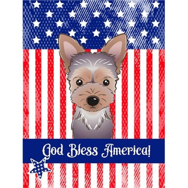 God Bless American Flag With Yorkie Puppy Flag Garden