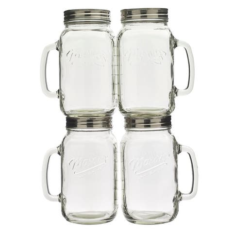 Mason Craft & More 4PC 32oz Glass Jar with Handle
