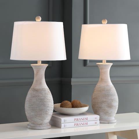 "SAFAVIEH Lighting Bentlee Grey 30-inch LED Table Lamp (Set of 2) - 15""x15""x30"""