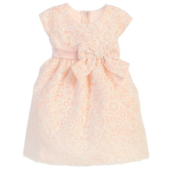 Baby Girls Petal Pink Embroidered Organza Easter Dress 9-24M