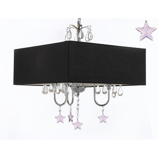 Modern Contemporary Crystal Chandelier With Large Square Black Shade and Pink Crystal Stars!
