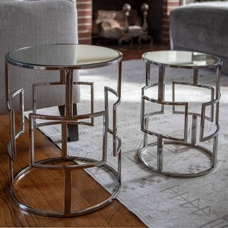 Link to Silver Orchid Banks Mirrored Nesting Tables (Set of 2) Similar Items in Living Room Furniture