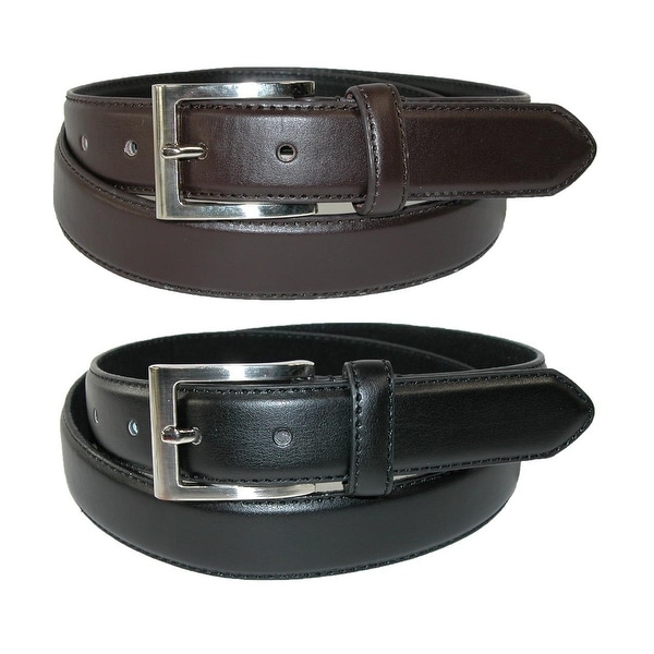 CTM® Men's Big & Tall Leather Dress Belt with Silver Buckle (Pack of 2)
