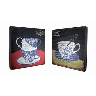 Set of 2 Floral Toile Tea Cup Bistro and Cafe Wooden Wall Hangings - Black