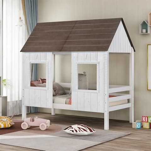 Merax Twin Size Low Loft Wood House Bed with Two Front Windows