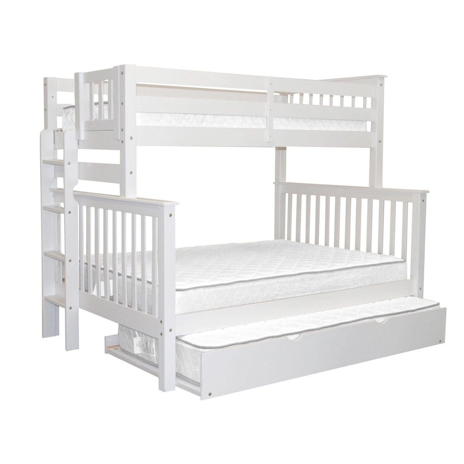 Bedz King Bunk Beds Twin Over Full Mission Style With End Ladder And A Twin Trundle White Overstock 24241091