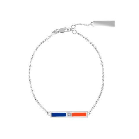 University Of Florida Sterling Silver Diamond Bar Chain Bracelet In Blue & Orange