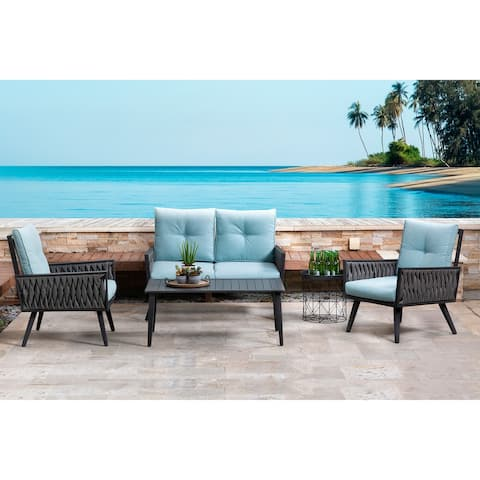 Glitzhome 4pc Outdoor Modern All Weather Wicker Sectional Sofa Chat Set