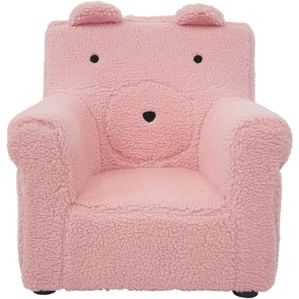 Critter Sitters 20-In. Plush Pink Bear Animal Shaped Mini Chair, Furniture, Nursery, Bedroom, Playroom, Living Room. Opens flyout.