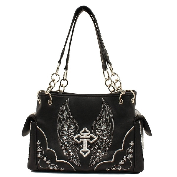 Blazin Roxx Western Handbag Womens Satchel Cross Wings Black N7558401 - 13 x 4 1/2 x 8